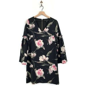 WHBM Long Sleeve Floral Bell Sleeve Shift Dress 6